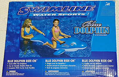 Inflatable Swimline Blue Dolphin Ride on Pool Toy New In Box