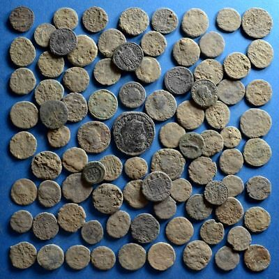 Lot of 90 Uncleaned Roman Bronze Coins #2