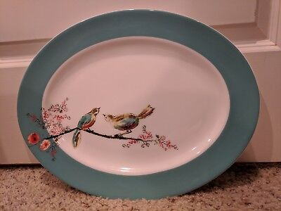 "NEW Lenox Simply Fine China Pattern=Chirp 16"" Oval Platter Light Blue w/Bird"