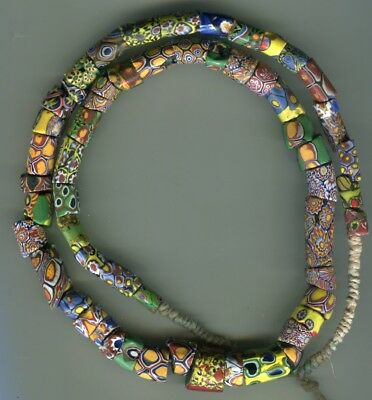 African Trade beads Vintage Venetian old glass large mixed millefiori chipped