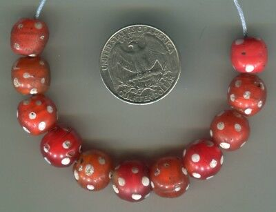 African Trade beads Vintage Venetian glass beads old red skunk eye white hearts