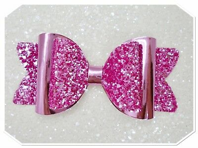 Large  Rose Pink Hair Bow Clip / School Hair Bow / Glitter Hair Bow