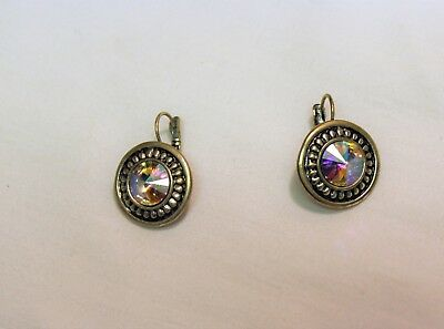 Antiqued Silver Tone Iridescent Round Circle Leverback Gem Stone Earring Drop