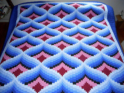 Amish Handmade Quilt - Bargello New Amish Quilt - New Amish King Queen