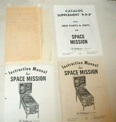 Original Vintage Instruction Manual For Williams Space Mission Pinball Machine