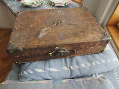 Antique Tiger Oak Wood Painter Artists Box with Hinged Lid 1871 14x10