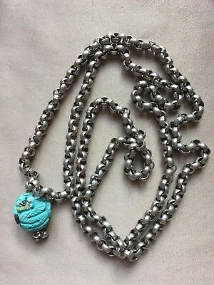Vintage Silver Plated With One Chinese Carved Turquoise Bead Long Necklace