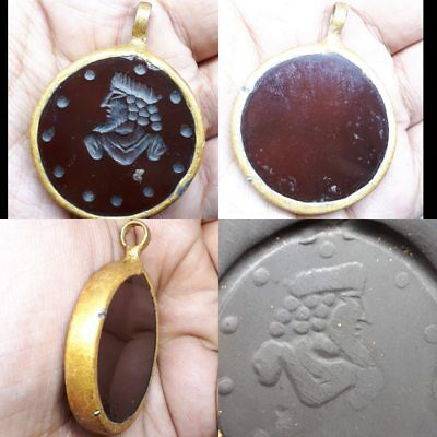 lovely old Agate gold plated pendant Rare king face intaglio Stone pendant ...