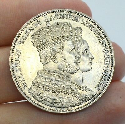 Germany Thaler 1861 Coronation Old Silver Coin