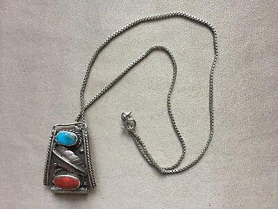 Tested Silver Navajo Coral Turquoise Necklace