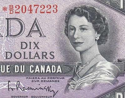 1954 BANK OF CANADA QEII $10 **STAR NOTE** (( aUNC ))