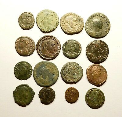 Lot Of 16 Imperial Roman Bronze Coins For Identifying - 10