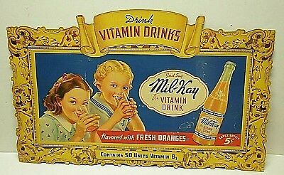 Vintage 1940s MIL-KAY Vitamin Drink sign grocery store counter easel backed 28""