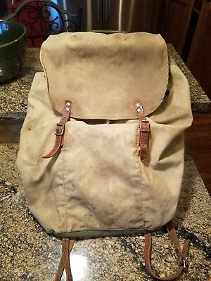 WW2 Triple Crown Sweedish Army Leather & Canvas Backpack With Metal Frame