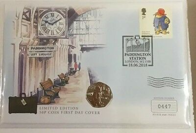 2018 Paddington Bear At The Station 50p Uk Stamp And Coin Cover PNC