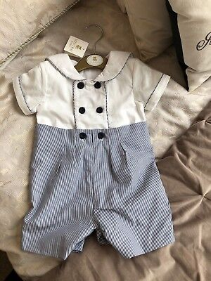 BNWT Baby Boy Mintini White Navy Christening Sailor Outfit Romper 12 Months