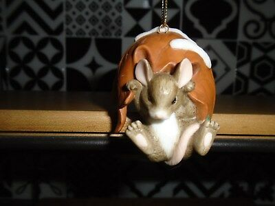 Charming Tails-Mouse Hanging from Falling Leaf-Ornament-No Box