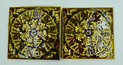 Antique Scarce Trent Art Tiles Pair Of Sunburst Acanthus Leaf Accent