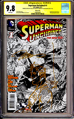 Superman Unchained #1 CGC SS 9.8 Signed with Superman Sketch by Jim Lee Himself!