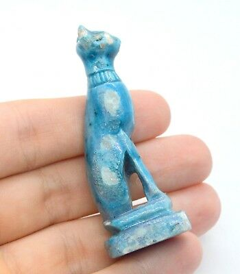 Ancient Egyptian Egypt Sphynx Can Bastet Blue Glazed Faience Figurine