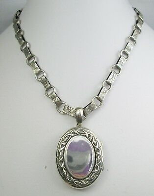 Antique Victorian Sterling Silver Book Chain Engraved & Locket Necklace