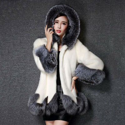 Women Winter Imitation Faux Fox Fur Coat Mink Long Skirt Styles Elegant Coat G