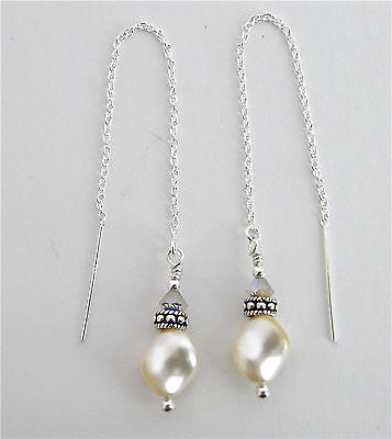 *IAJ* STERLING SILVER Ear Threader Earrings w/SWAROVSKI CREAM PEARLS CRYSTALS