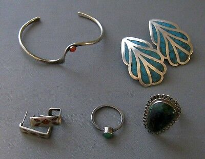Nice Lot Of Vintage Sterling Silver Turquoise Coral Tribal Jewelry