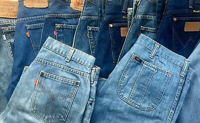 Lot of 11 Vtg Levis 501 Lee Wrangler Denim Jeans 70s 80s 90s Resell Repurpose