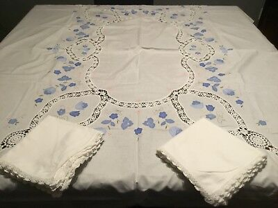 White &blue Appliqiue,embroidered,crocheted Edge Tablecloth W/matching Napkins