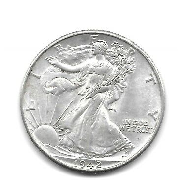 1942 Walking Liberty Silver Half Dollar -  Uncirculated -