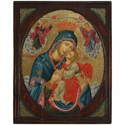 Russian Orthodox Icon, Mother Mary with Christ Child, 20th Century