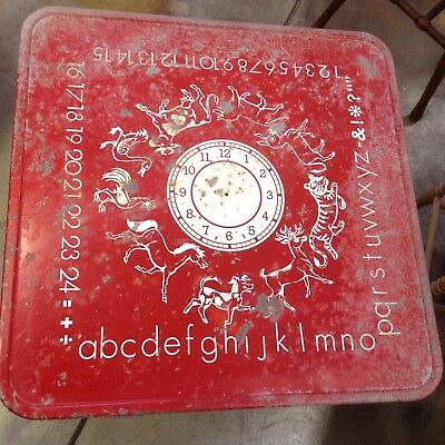 Vintage Child's RED Metal FOLDING Card TABLE GRAPHICS Animals Clock ABC's Number