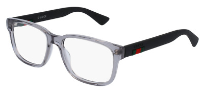 *NEW AUTHENTIC* GUCCI GG0011O 007 GREY BLACK EYEGLASS FRAME, SIZE 55mm