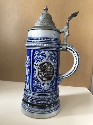Antique Westerwald 11 Inch Stein Cobalt Blue On Gray Stoneware Germany Marked