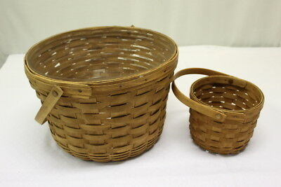TWO Longaberger Large Apple Basket Swing Handle Protector & 1992 Fruit Basket