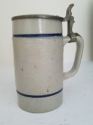 Stoneware Stein With Pewter Top