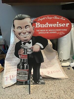 "Bud Budweiser Cardboard Beer Bar Sign 16"" Tall.  SMILING CHARLIE"