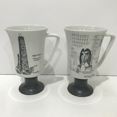 "Set (2) Seyei Coffee Tea Cups Hanckock Center Water Chicago Picasso 5.5"" Tall"