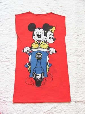 Vtg Mickey Minnie Mouse Tee T Night Shirt Nightgown Moped Scooter Red Size 14