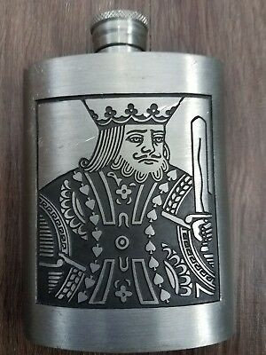 Vintage Thailand Siam Pewter King of Hearts Flask