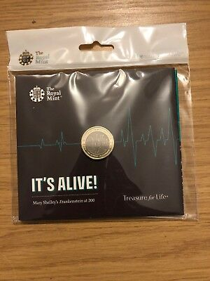 2018 Royal Mint Uk Frankenstein £2 Coin Mary Shelly Bu Coin Pack