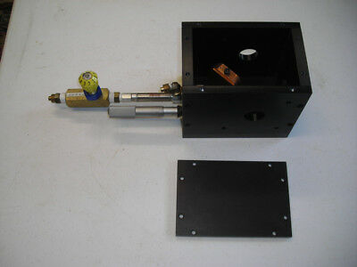 Laser shutter beam splitter with pneumatic drive and micrometer adjustment.