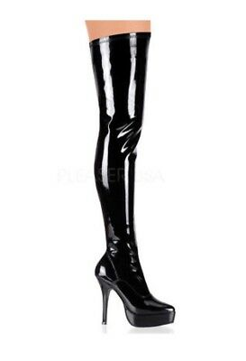5bc28fa5555 Devious Indulge 3000 by Pleaser Black Patent Thigh High Boots Size UK 10 New