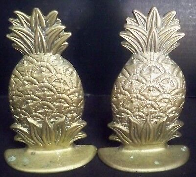 """Vintage Solid Brass Pineapple Shape Bookends Natural Patina 6"""" Tall Handcrafted"""