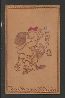 Love Me as I Love You Jackson,MI Vintage Leather color Card>1907>VFposted