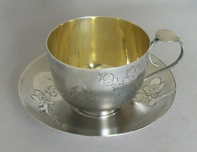 Vintage Antique Chinese Silver Hand Decorated Teacup and Saucer