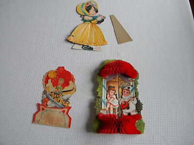 Three Vintage Valentine Cards all with Honeycomb