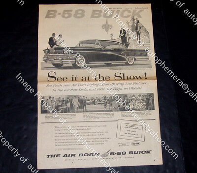 1958 BUICK LIMITED Full Page 15x21 NEWSPAPER AD & 58 MERCURY Monterey AD on Back