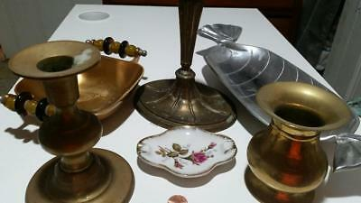 Vintage Lot ! Brass Candle Holders, Metal Candy dishes, Brass Vase No Reserve !